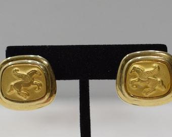 Earrings Matte Gold Pegasus Clip Earrings