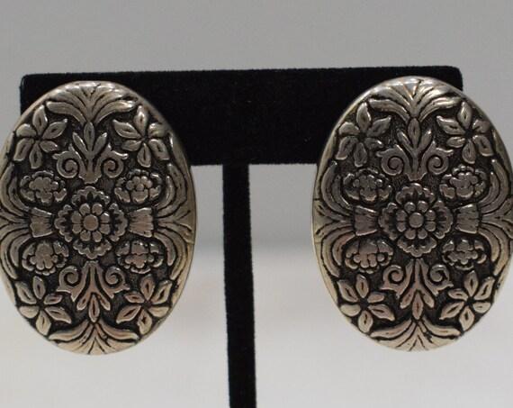 Earrings Silver Flower Clip Earrings