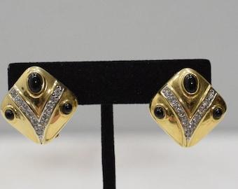 Earrings Gold Cubic Zirconia Triangle Clip Earrings