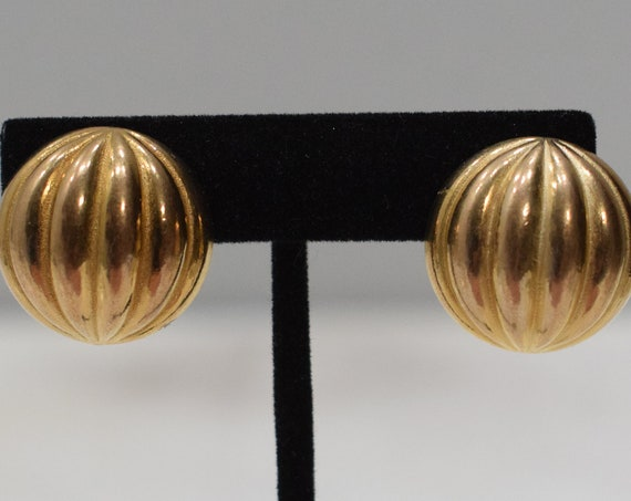 Earrings Gold Grooved Oval Clip Earrings