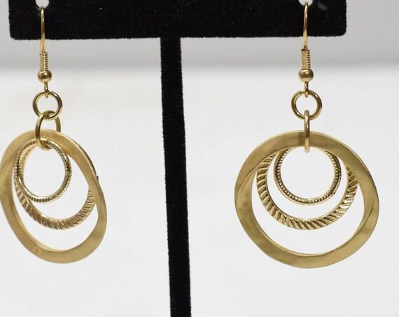 Earrings Matte Gold 3 Hoop Dangle Earrings