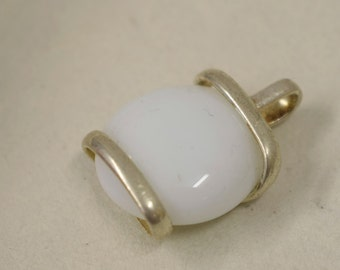 Pendant Silver White Colored Glass Handmade Glass Silver Jewelry Necklace Bracelet Fun White Color Glass Unique