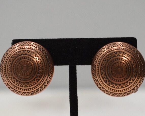 Earrings Etched Copper Clip Earrings