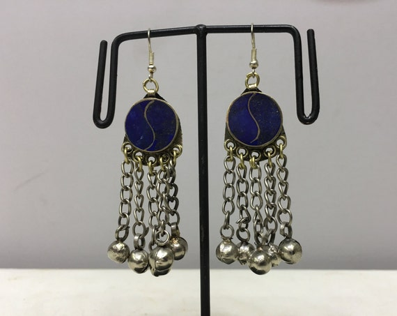 Earrings Silver Middle Eastern Lapis Dangle Silver Bells Handmade Silver Lapis Earrings Belly Dance Etched Bell Dangle Unique E167