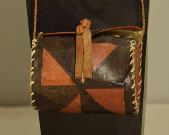 African Purse Leather Hand Painted Mossi Burkina Faso Vintage African Purse