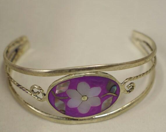 Bracelet Silver Wrist Cuff Shell Mother Pearl Flower Vintage Purple Enamel Bracelet Handmade Silver Purple Enamel Shell Cuff Bracelet