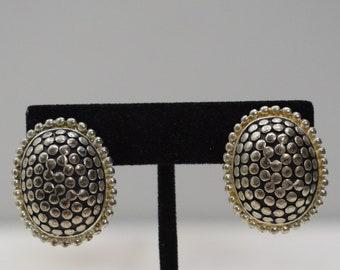 Earrings Silver Studded Oval Earrings