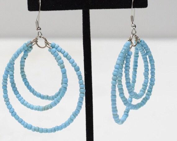 Earrings Turquoise Beaded Hoop Earrings
