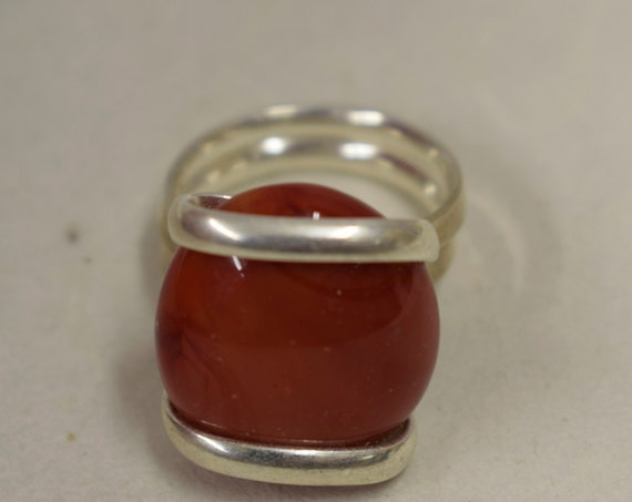 Ring Silver Opaque Red  Colored Glass Handmade Glass Silver Jewelry Ring Fun Opaque Red Color Glass Unique