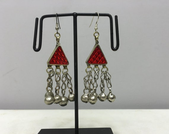 Earrings Silver Middle Eastern Triangle Red Plastic Reflector Light Dangle Bells  Handmade Silver Red Belly Dance Bells Dangle Unique E185