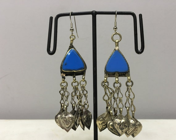 Earrings Silver Middle East Blue Glass Triangle Dangle Silver Charms  Handmade Silver Earrings Belly Dance Blue Charm Dangle Unique E187