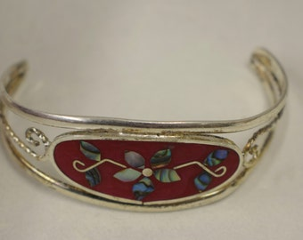 Bracelet Silver Wrist Cuff Shell Mother Pearl Flowers Red Enamel Bracelet