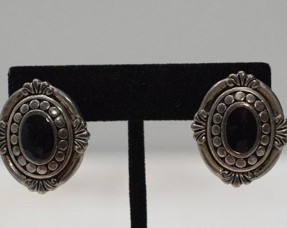 Earrings Silver Black Oval Clip Earrings
