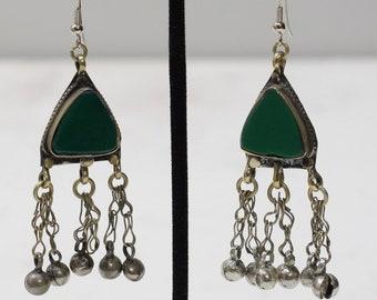 Earrings Afghanistan Green Silver Bell Earrings