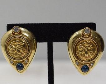 Earrings Gold Stone Scene Clip Earrings