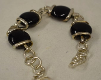 Bracelet Silver Black Glass Adjustable Handmade Glass Silver Jewelry Bracelet Fun Black Glass Unique