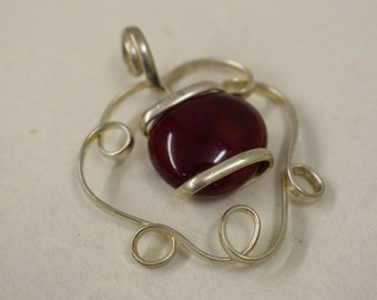 Pendant Silver Ruby Red Colored Glass Handmade Glass Silver Jewelry Necklace Bracelet Fun Ruby Red Color Glass Unique