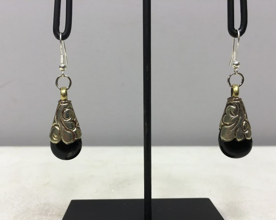 Earrings Tibetan Silver Handmade Black Onyx Crystal Dangle Etched Silver Teardrop Black Onyx Stone  Unique E155