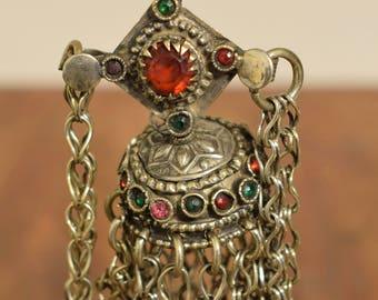 "Earrings Silver Dangle Single Red Glass Kuchi Tribal Jewelry Middle Eastern Kuchi  6"""