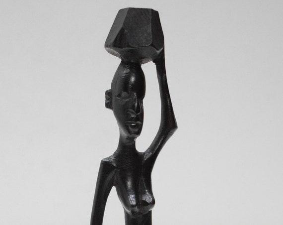 African Statue Ebony Carved Wood Figure Tanzania Figure Statues
