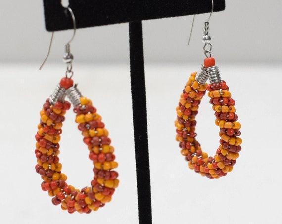 Earrings Orange Glass Beaded Hoop Earrings