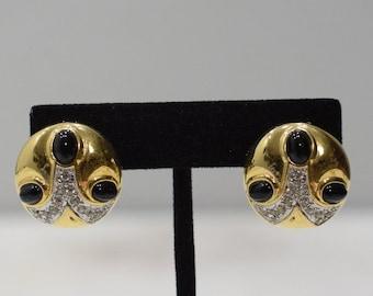 Earrings Gold Cubic Zirconia Glass Clip Earrings