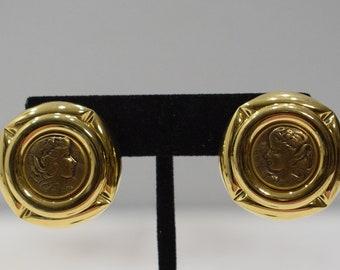 Earrings Gold Copper Coin Clip Earrings