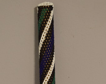 African Ndebele Black White Beaded Dance Stick  South Africa