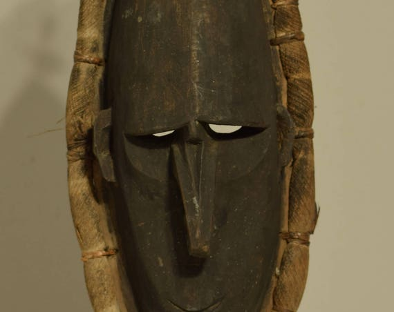 Papua New Guinea Mask Black Wood Lower Sepik River Ancestor Ceremonial Mask