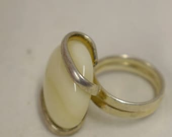 Ring Silver Creme Beige Colored Glass Handmade Glass Silver Jewelry Ring Fun Cream Beige Color Glass Unique