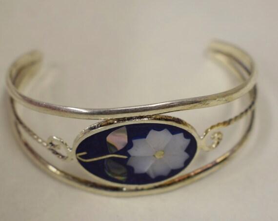 Bracelet Silver Wrist Cuff Shell Mother Pearl Flowers Vintage Blue Enamel Bracelet Handmade Silver Blue Enamel Shell Cuff Bracelet