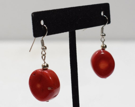 Earrings Red Chinese Dyed Coral Earrings
