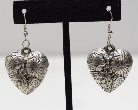 Earrings Silver Flower Heart Earrings