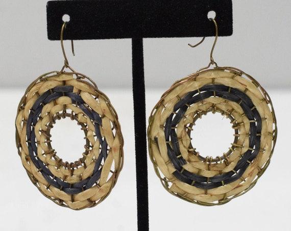 Earrings Philippine Black Rattan Hoop Earrings