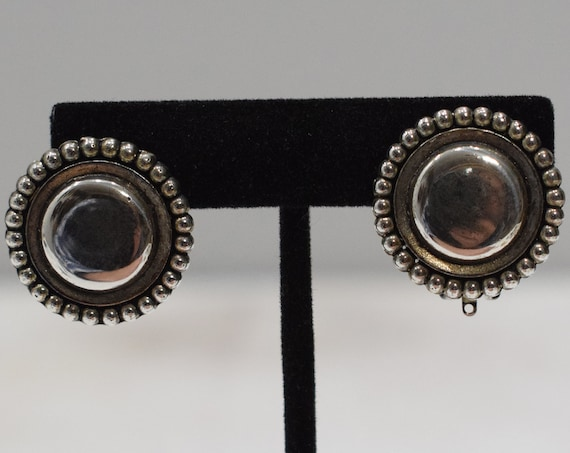 Earrings Silver Button Clip Earrings