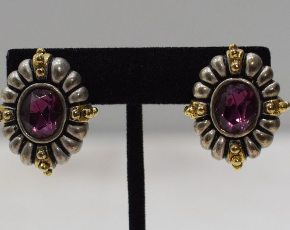 Earrings Amethyst Crystal Silver Clip Earrings