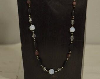 Necklace Chinese Opaline Glass Carnelian Czech Glass Beads Handmade Jewelry Clear Glass Red Carnelian Black Matte Beaded Necklace