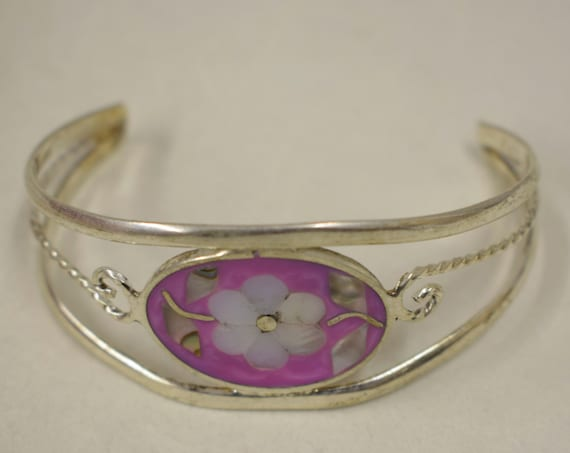 Bracelet Silver Wrist Cuff Shell Mother Pearl Flower Vintage Dark Pink Bracelet