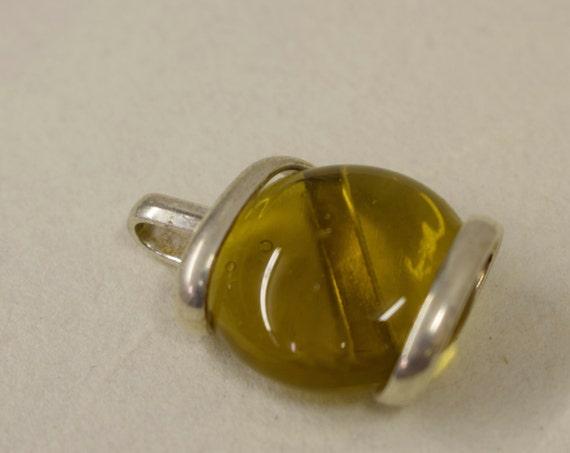 Pendant Silver Topaz Colored Glass Handmade Glass Silver Jewelry Necklace Bracelet Fun Topaz Color Glass Unique