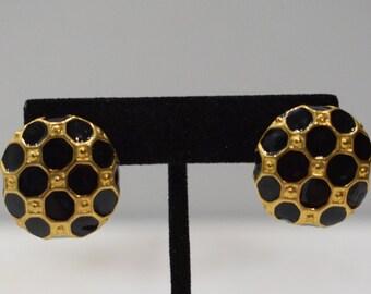 Earrings Black Gold Clip Earrings
