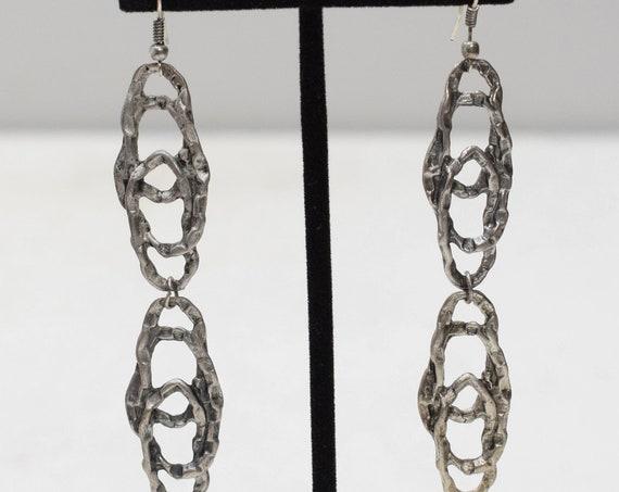 Earrings Turkish Pewter Oval Drop Earrings