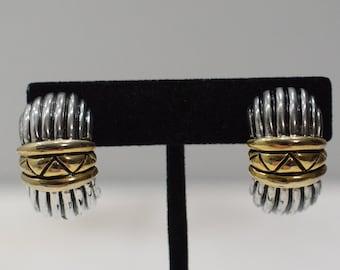 Earrings Gold Silver Ridged Clip Earrings