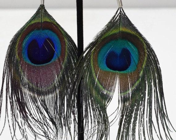 Earrings Green Peacock Feather Earrings