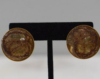 Earrings Gold Lucite Clip Earrings