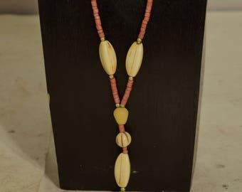 Necklace Buri Nut Resin Coconut Heishi Pendant Beaded Handmade Buri Nut Jewelry Necklace