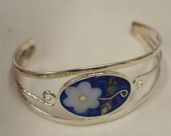 Bracelet Silver Wrist Cuff Shell Mother Pearl Flowers Blue Enamel Bracelet