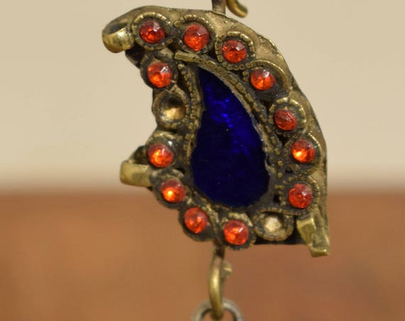 "Beads Silver Earring Kuchi Silver Single Lapis  Red Glass Tribal Jewelry Middle Eastern Kuchi 4"""