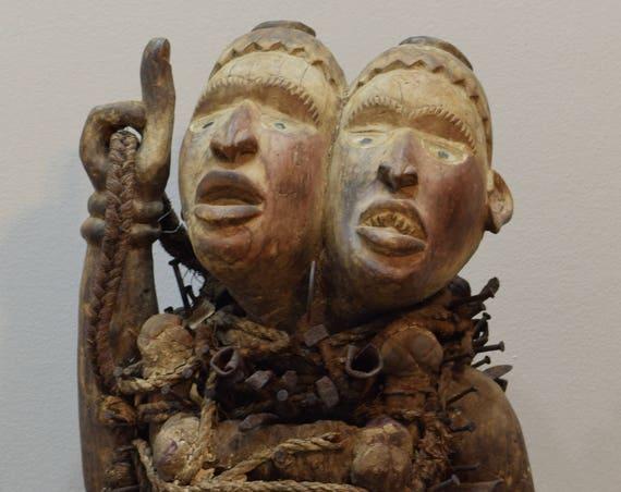 African Statue Songye Double Faced Large Nail Fetish Congo Songye Nails Fetish