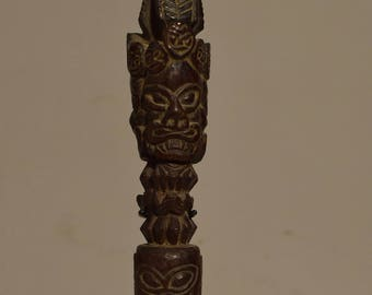 Tibet Phurwa 1970 Carved Wood Magic Dagger Ritual Peg Tibetan Phurwa