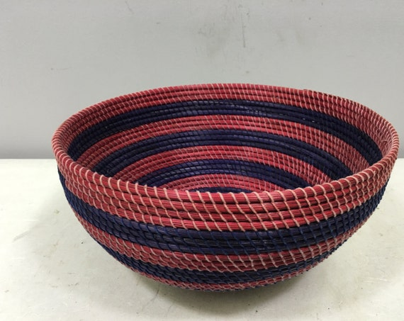 Basket African Lesotho Purple Red Woven South Africa Handmade Hand Woven Coiled Woman Unique SM31
